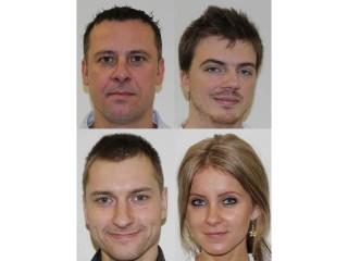 Vlevo nahoře Kožusznik, vpravo nahoře Prostějovský, vlevo dole Hasmanda a vpravo dole Schneiderová