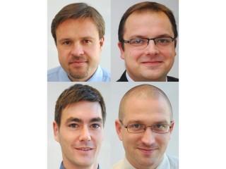 Vlevo nahoře Antonín Lavrenčík, vpravo nahoře Jakub Chmelík, vlevo dole Zdeněk Prokeš a vpravo dole Petr Panec.