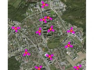 Mapa s vyznačenými LTE vysílači v pražském Kamýku