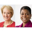 Ostupující CEO Xeroxu Anne M. Mulcahy, vpravo Ursula M. Burns.