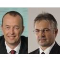 Vlevo Petr Mýtina, generální ředitel společnosti Servodata, vpravo Rostislav Jirkal, prezident společnosti Servodata Group